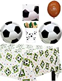 Soccer Party Supply Pack - Tableware for 16 Guests - 1 Tablecover,16 Dinner Plates, 16 Napkins, 16 Cups, and a HeyDays''The Party Is Here'' Balloon