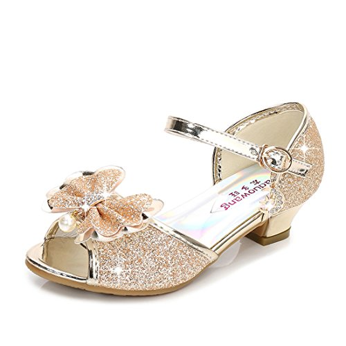 Girls Low Heel Sandals Wedding Cute Big Toddler Size 3 M Little Girls for Wedding Gold Sequin Performance Wedge Sandals Girls (Gold 37) by Osinnme