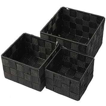 Aufbewahrungsbox 3er Set QUADRATISCH geflochten Korb Box Badezimmer Kiste  Regal, Farbe:Schwarz