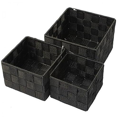 Aufbewahrungsbox 3Er Set Quadratisch Geflochten Korb Box