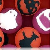 Custom & Unique {27mm} 250 Bulk Pack, Mid-Size Super High Bouncy Balls, Made of Grade A+ Rebound Rubber w/ Ghosts Jack-o-Lantern Owl Cat Witch Bat Crow Skull & Cross Bone (Pink, White, Black & Orange)
