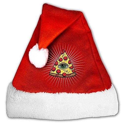 FunnyLaury Illuminati Pizza All Seeing Eye Food Pyramide Santa Hat Velvet Christmas Hat