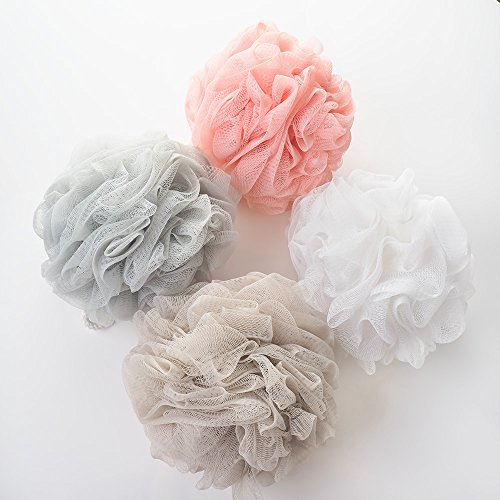 [NEW 2018] Luxury Loofah Bath Sponge Swirl Lace Set 4-Pack (4 Pack, 4 Colors) - Full 60g Mesh Pouf Scrub for Men and Women - Soothe Skin with Luxurious Bathing Accessories by Feel Fresh (Normal)
