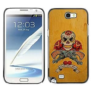Shell-Star Art & Design plastique dur Coque de protection rigide pour Cas Case pour SAMSUNG Galaxy Note 2 II / N7100 ( Gold Revolver Guns Red Live Free Skull )