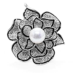 Sparkly Flower Brooch Pin with Created Crystal