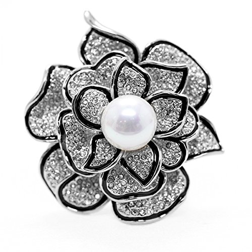 Merdia Sparkly Flower Brooch Pin for Women with Beautiful Created Crystal by Merdia