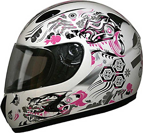Dragon Full Face (HCI Pink Dragon Full Face Motorcycle Helmet - Fully-Vented ABS Shell 75-808 (XS))