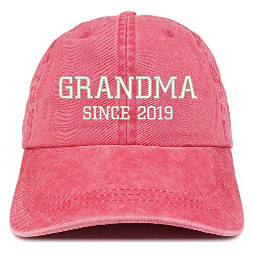 Trendy Apparel Grandma Since 2019 Embroidered Washed Pigment Dyed Cap - Red