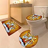 Anhuthree Spiritual Toilet Rug and mat Set Religious Figure on Grunge Backdrop Idol Meditation Bohemian Print 3 Piece Toilet mat Set Amber Orange Pale Blue
