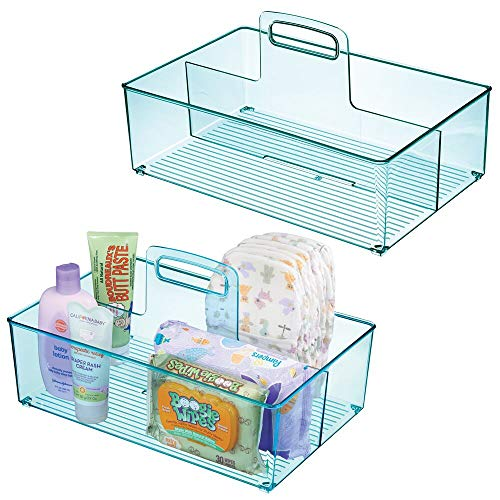 mDesign Nursery Plastic Storage Caddy Divided Bin - Utility Tote with Handle, Holds Bottles, Spoons, Bibs, Pacifiers, Diapers, Wipes, Baby Lotion - 2 Sections, BPA Free, Large, 2 Pack - Sea Blue from mDesign