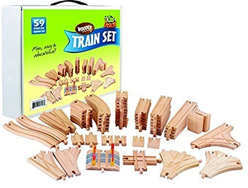 (Kids Destiny Wooden Train Track 59 Piece Pack - 100% Compatible with All Major Brands Including Thomas Train Wooden Railway System)