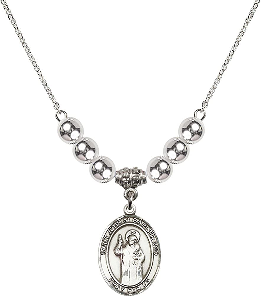 18-Inch Rhodium Plated Necklace with 6mm Sterling Silver Beads and Sterling Silver Saint John of Capistrano Charm.