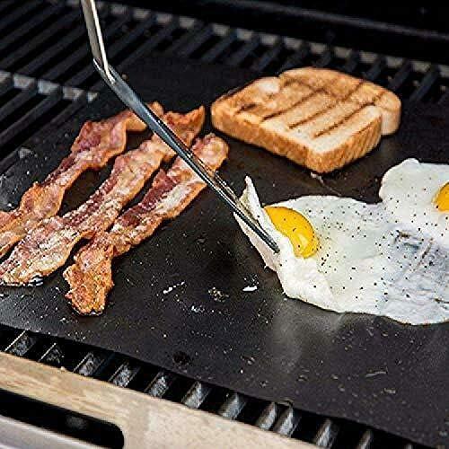 showsing Tapis de Cuisson Barbecue Feuille Cuisson Barbecue Tapis Anti-adhérent et Réutilisable pour Barbecue Électrique Gaz et Charbon 5pCS