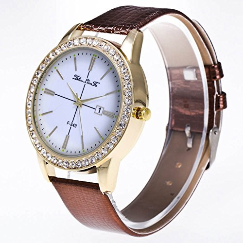 Dilwe Strap Wristwatch, Fashion Women Quartz Watch Adjustable Leather Alligator Strap Round Dial Wristwatch 4 Colors ()