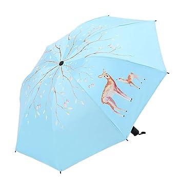 Sabarry Grande Sol Mujer UV Funda Paraguas automático bastón Pantalla niños Azul Skyblue Talla única
