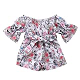NUWFOR Infant Toddler Baby Girls Off Shoulder Floral Print Bow Romper Jumpsuit Outfits(Multicolor,12-18 Months)