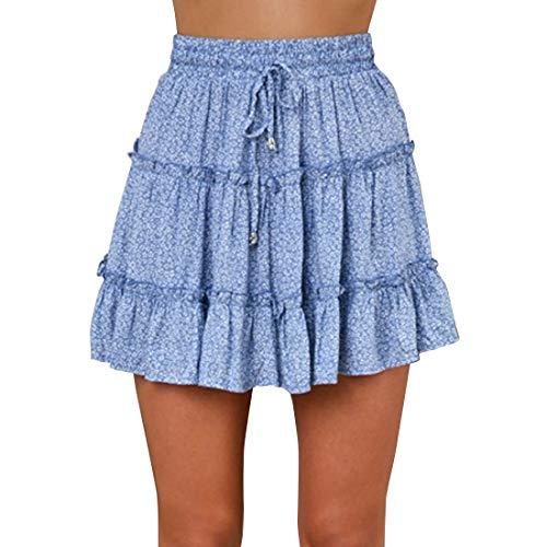 ebossy Women's Cute Elastic Waist Drawstring Summer Beach Frill Floral Tiered Mini Skirt (Medium, Dot Blue)