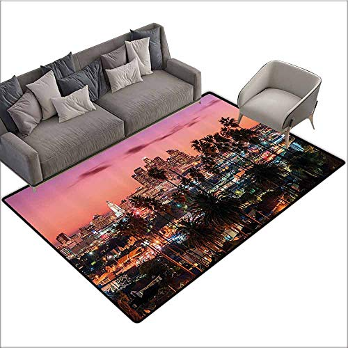Office Chair Floor Mat Foot Pad United States,Vibrant Sunset Twilight Scenery Los Angeles Famous Downtown with Palm Trees,Multicolor 80