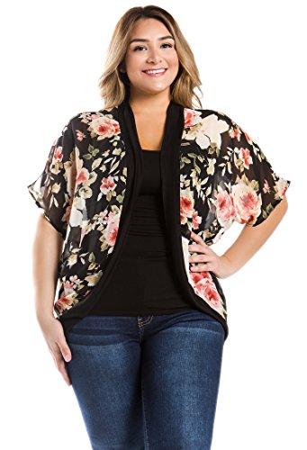 Bubble B Womens Plus Size Sheer Chiffon Floral Print Open Cardigan