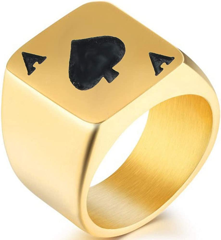 Jude Jewelers Stainless Steel Black Spade Ace Poker Signet Ring Cocktail Party Casino Biker