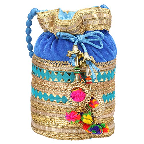 - Indian Satin Potli Bag with Attractive Handicraft Thread Work for Female - Sky Color