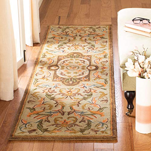 Safavieh Classic Collection CL220A Handmade Traditional Oriental Beige and Olive Wool Runner (2'3