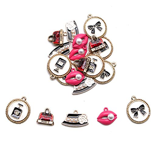 WSSROGY Enamel Girls Charms Fashion Theme Craft Findings - for Women and Girls Necklace Bracelet Jewelry Craft Supply - with 5 Lips, Hat, Handbag, Perfume & Bow ()