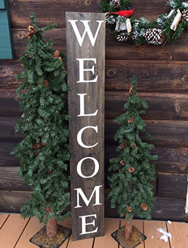 Funlaugh Welcome Sign Outdoors Porch Sign Rustic Handmade Handpainted Wood Signs for Home Decor Quote Garden Plaque Sign