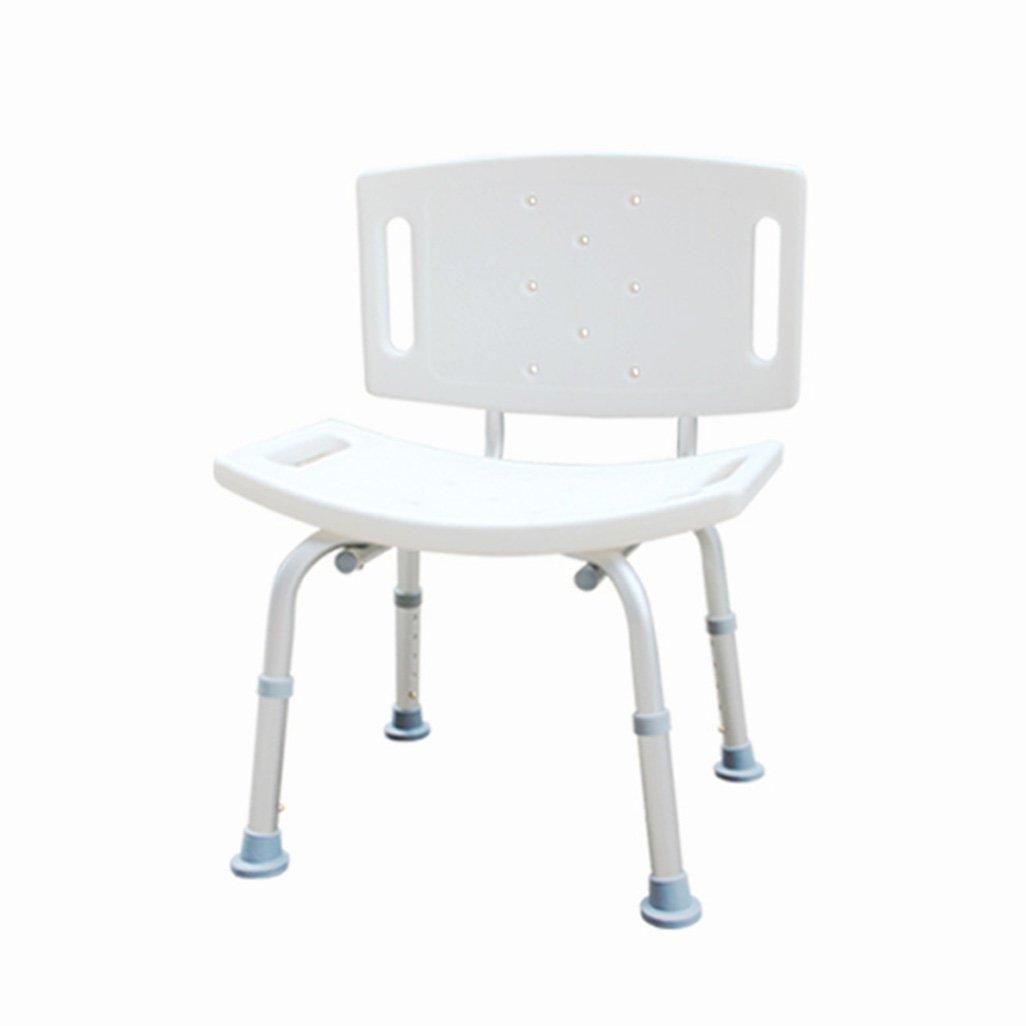 シャワー/バススツールシャワーシートスツール高齢者/障害者のためのアンチスリップマットシャワー椅子背もたれとハンドルのバスシートを持つ5つの高さで調整可能ホワイト B07F67R3G5