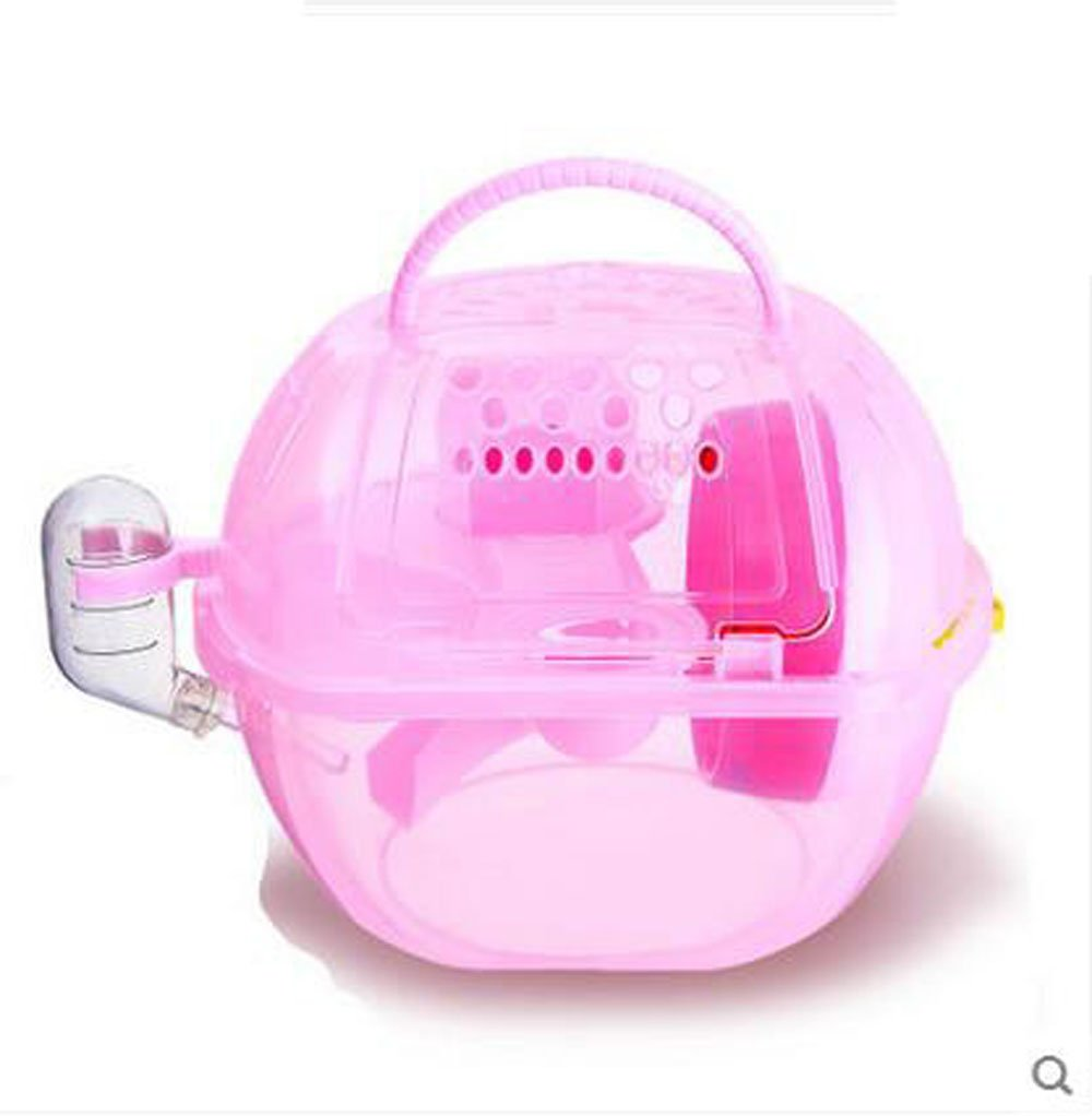 Portable Hamster Outdoor Carrier Crystal Mini Cage with Water Drink Bottle Dwarf Mice Moving House Tubes for Small Animals Travel (Pink)
