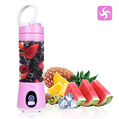 USB Juice Blender, Portable Eletric USB Rechargeable Juicer Cup Mixer,Fruit Smoothies Mixing Machine,Dual Battery 4 Blade Design ,Baby Food Blender, Water Bottle 380ml