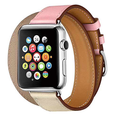 (TEXSCOPE Compatible for Iwatch Band, Genuine Leather Double Tour Apple Watch Straps 38mm/42mm with Replacement for Men Women iwatch series3/2/1 (Rose Sakura/Craie/Argile,)