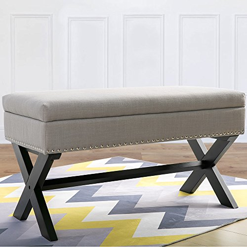 Harper Bright Designs Storage Bench Ottoman Linen Fabric with X-shape Leg and Nailhead Decoration (Grey + black leg) - Fabric Bench