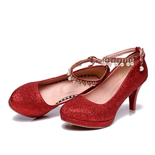 YE Damen Ankle Strap Pumps Stiletto Glitzer High Heels Plateau mit Riemchem Elegant Schuhe Rot