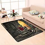 Nalahome Custom carpet thic Decor Ancient Altar Holy Table in Castle Baroque Inspired Alchemy Wizard Design Grey Yellow area rugs for Living Dining Room Bedroom Hallway Office Carpet (5' X 7')