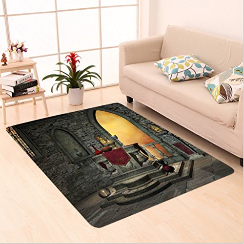 Nalahome Custom carpet thic Decor Ancient Altar Holy Table in Castle Baroque Inspired Alchemy Wizard Design Grey Yellow area rugs for Living Dining Room Bedroom Hallway Office Carpet (5' X 7') by Nalahome