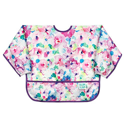 Bumkins  Sleeved Bib / Baby Bib / Toddler Bib / Smock, Waterproof, Washable, Stain and Odor Resistant, 6-24 Months  - Watercolor ()