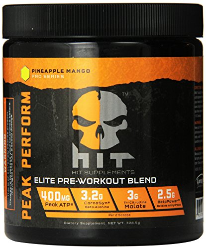 HIT Supplements Peak Perform Pre Workout Supplement with Peak ATP, Pineapple Mango, 45 servings