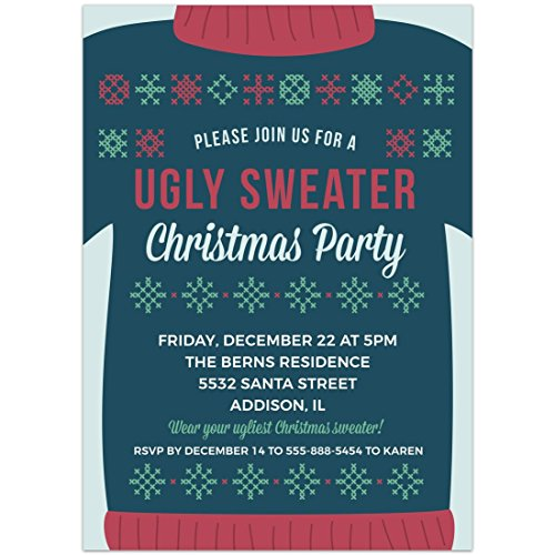 Ugly Sweater Christmas Party Invitations 5x7, Set of 20 ()