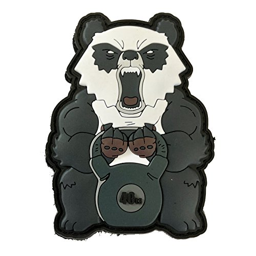 TACOPSGEAR Angry Fitness Panda lifting 40lb Kettlebell 3D PVC Patch