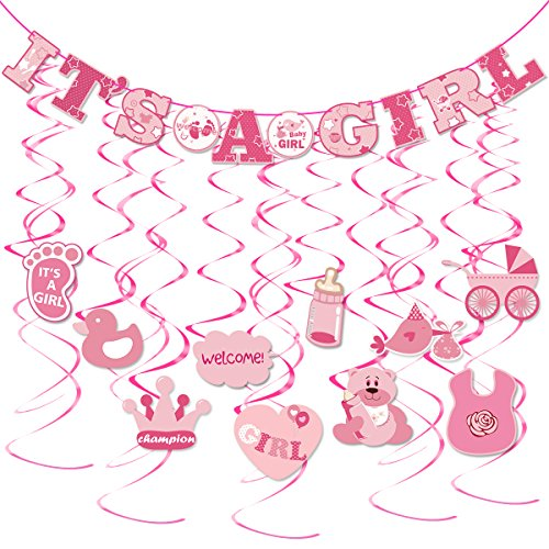 Tinksky 30pcs IT'S A GIRL Banner GIRL Baby Shower Dizzy Danglers Spiral Hanging Decoration for Parties (1 x IT'S A GIRL Banners, 10 x Swirl With Hang Tag, 10 x Swirl Without Hang Tag)