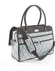 Fit & Fresh Wayfarer Carry On Bag, Womens Zippered Travel Tote (Gray Aqua Leaf Drop)