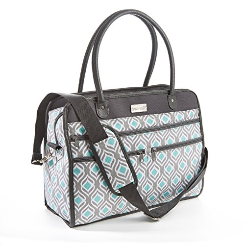 Fit & Fresh Wayfarer Carry On Bag, Womens Zippered Travel Tote (Gray Aqua Leaf Drop) (Rolling Tote Cooler)
