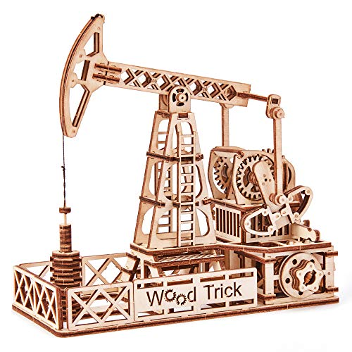Wood Trick Oil Derrick Rig Toy - Oil Pump Jack Mechanical Model to Build - 3D Wooden Puzzle, Assembly Toys - STEM Toys for Boys and Girls