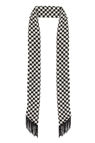 (LL. Womens Black and White Houndstooth Chic Long Skinny Thin Scarf Tie Sash Fringe Light Weight (Houndstooth))