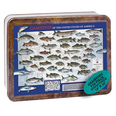 Channel Craft Puzzle Tin Gamefish 550 Piece Jigsaw Puzzle Gamefish Kit