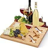 Homemaxs Bamboo Cheese Board with Cutlery Set