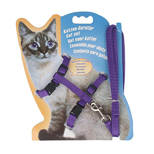 Traumdeutung Nylon Multi Color Cat Harness and Leash Set (Purple)