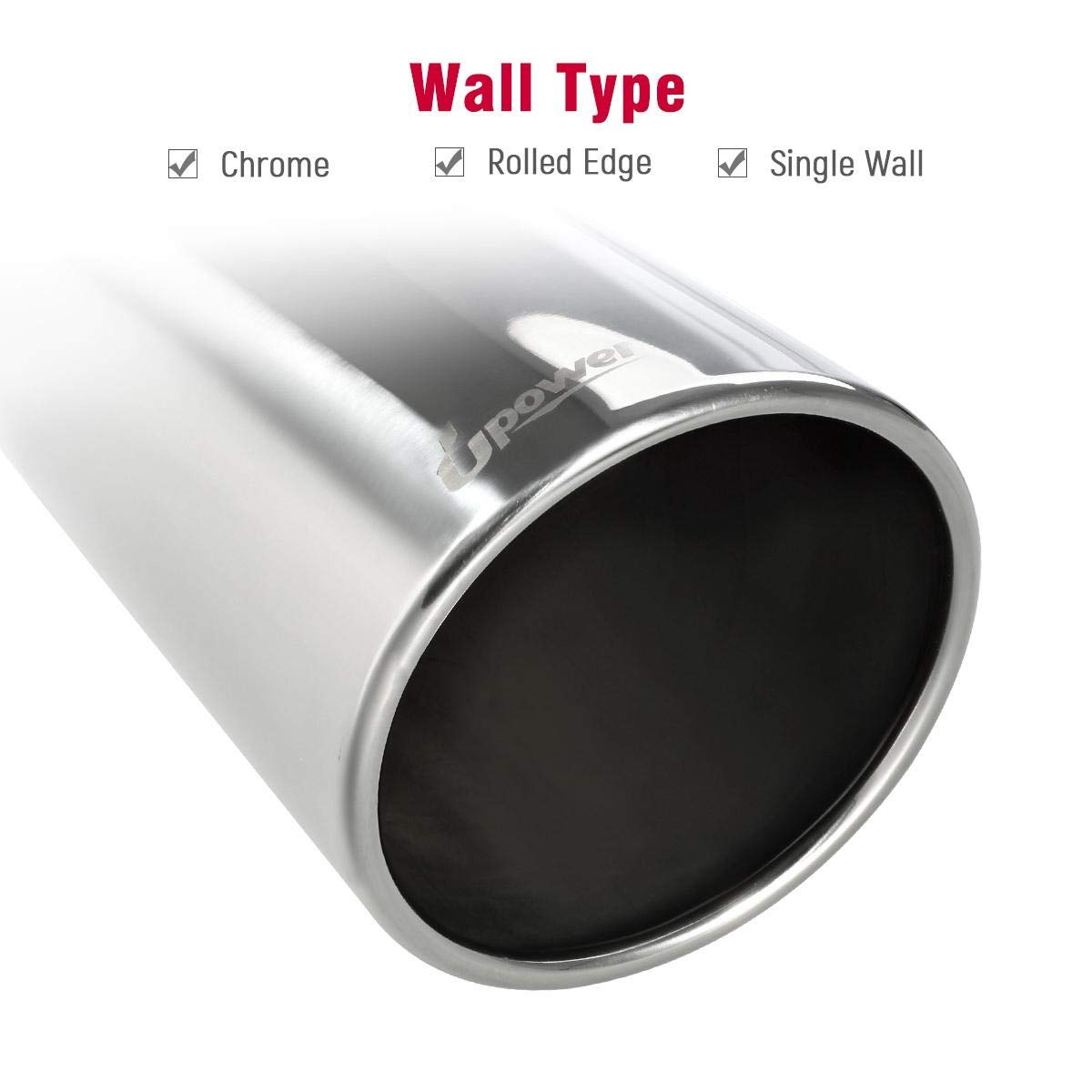 Upower Diesel Exhaust Tip 4 inlet 6 Outlet 18 Long Stainless Steel Polished Bolt On Trucks Tailpipe