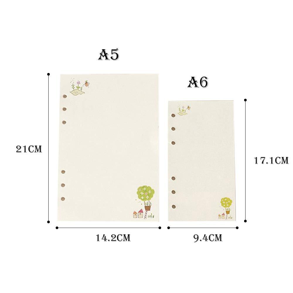 45 Hoja A5 A6 Colorido de hojas sueltas Recambio de cuaderno Espiral Carpeta Planificador P/ágina interna Suministros de oficina